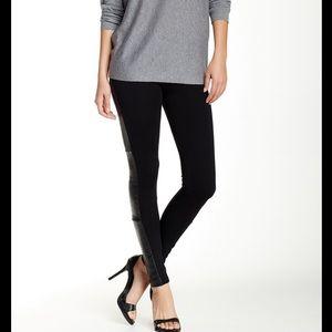 Alice + Olivia Black Ponte Leather Leggings Size 0